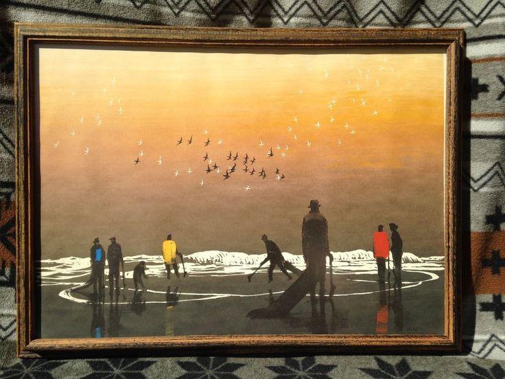 Mid Century Elton Bennett Original Signed Print Amp Frame THE SEA BIRDS CRY Amazing Art Found