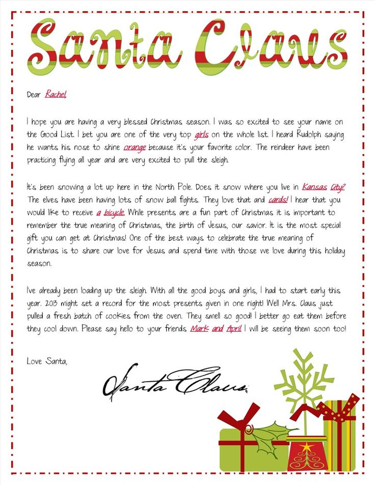 Religious focused Santa Letters Personalized Letter from