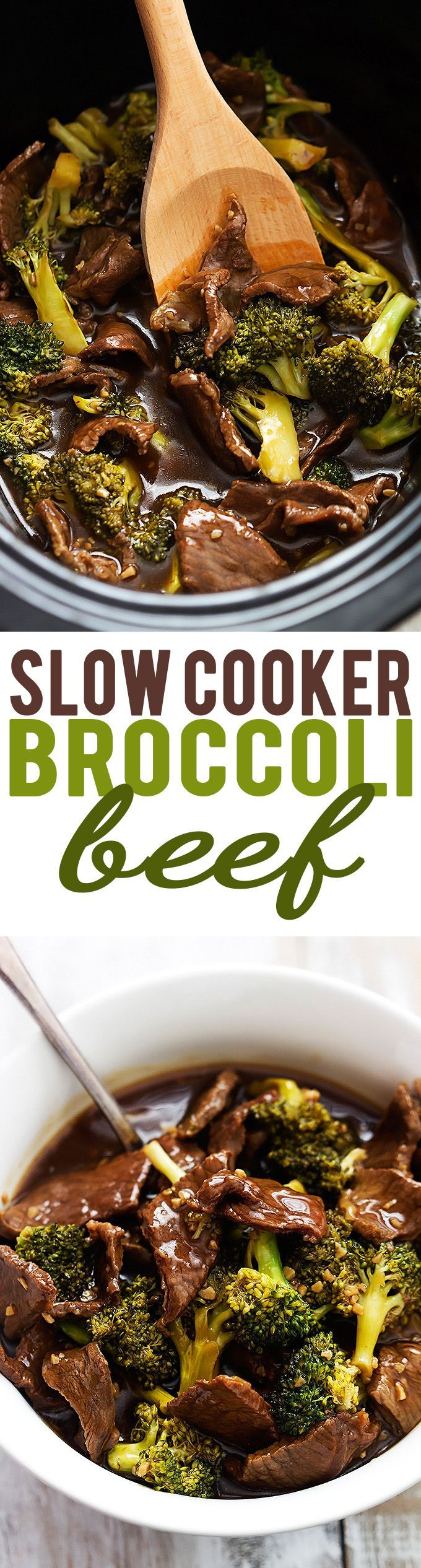 Super easy Slow Cooker Broccoli Beef! The sauce is AMAZING – so much better tasting and healthier than takeout!   | Creme de la