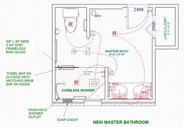 Bathroom Floor Plan Centered Tub - Google Search