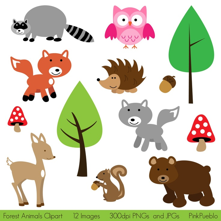 Forest Animals Clipart Print Candee kids room