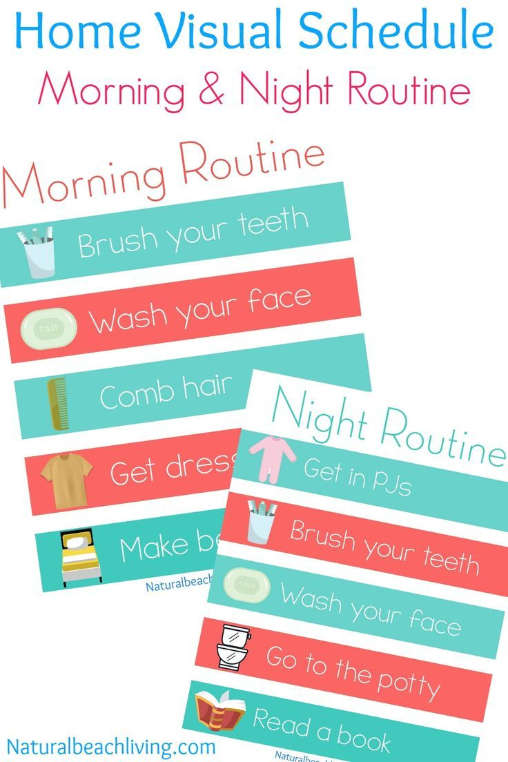 Home Visual Schedule Printables For Morning And Night Routine Night Routine Visual Schedules