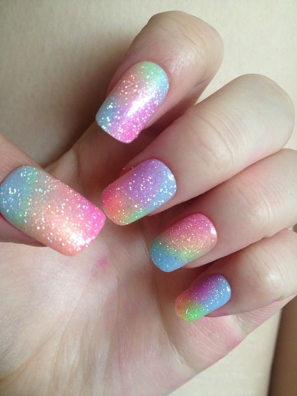 Pastel Rainbow Nails. Pastel goth seems to be a stubborn style that refuses to leave! Just as well there are nail ideas like these and so many pastel and glitter shades from OPI and