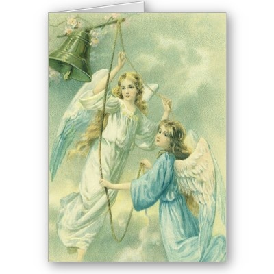 Vintage Christmas Victorian Angels Peace And Joy Card