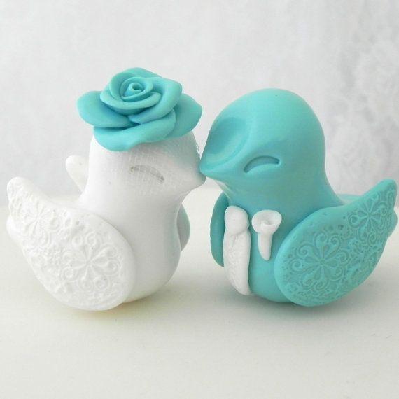 Love Bird Wedding Cake Topper Robins Egg Blue And White