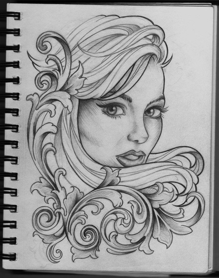 Woman and Filigree tattoo design by Frosttattoo on
