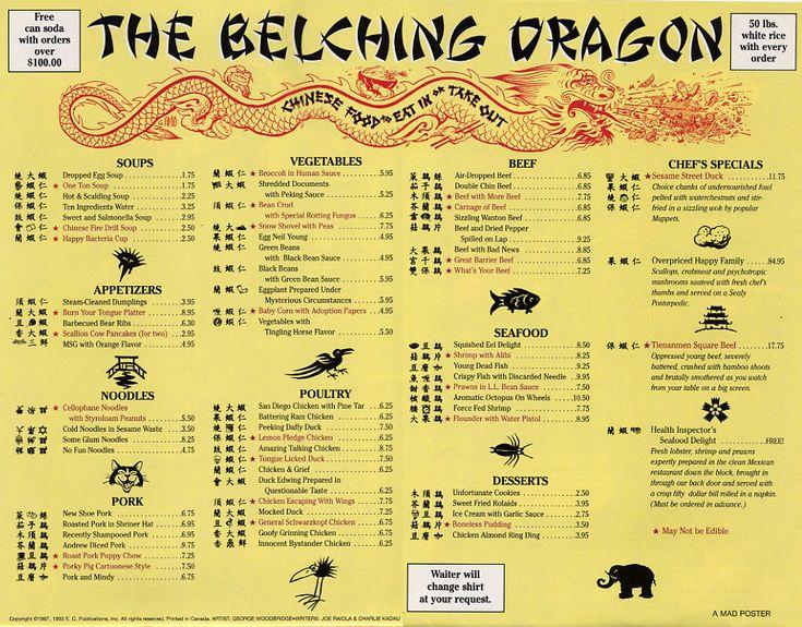 "Chinese Restaurant Menu ""The Belching Dragon"" Working"