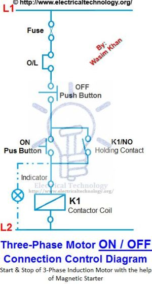 ON  OFF 3Phase Motor Connection Control Diagram