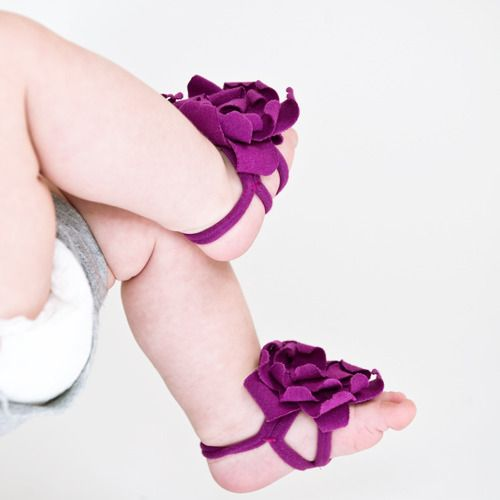 Barefoot baby bloom booties (DIY — t-shirt, glue gun, & a bit of needle/thread