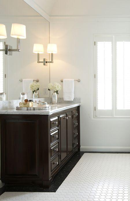 Suzie Ashley Goforth Design Stunning Bathroom With Vintage Hex Tiles Floor Glossy Espresso