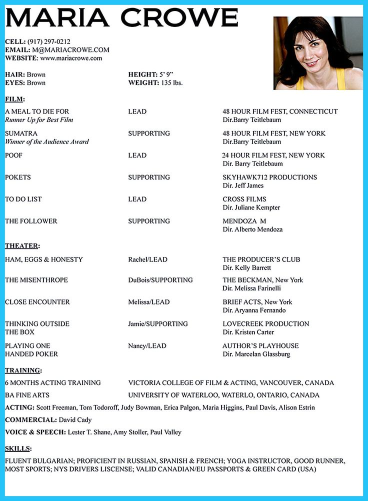 1000 ideas about acting resume template on pinterest sample