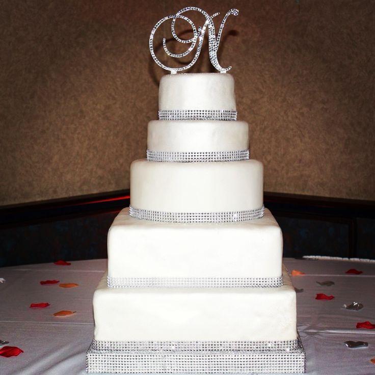 Bling Rhinestone Wedding Cake Monogram Cake Topper
