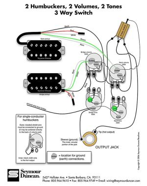 Wiring Diagram for 2 humbuckers 2 tone 2 volume 3 way