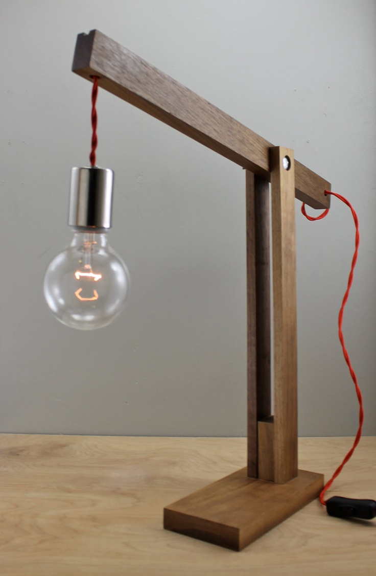"""The """"Catapult"""" Modern Wood Arm Lamp in Walnut"""