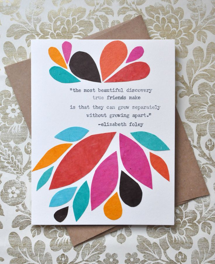Birthday Card Handmade Greeting Card Friendship Quote
