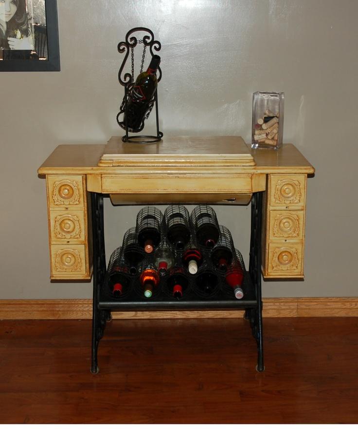 Old Sewing Machine Cabinet Wine Rack Artsy Craftsy