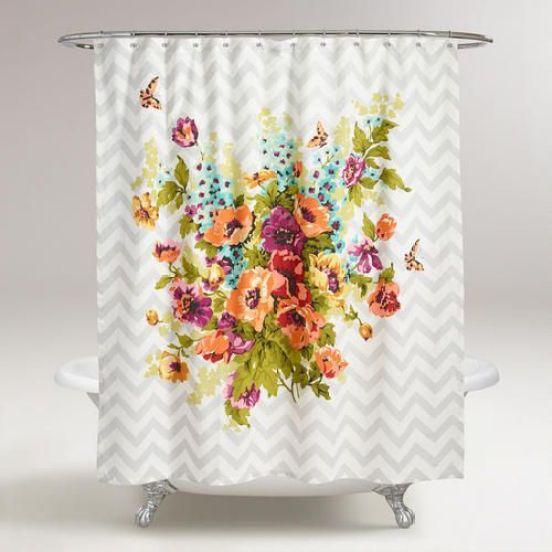 Enhance the look of your bath with our exclusive Floribunda Shower Curtain. A bright floral bouquet design pops against a muted gray chevron backdrop for a vibrant update.