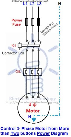Control 3Phase Motor from more than Two buttons Power