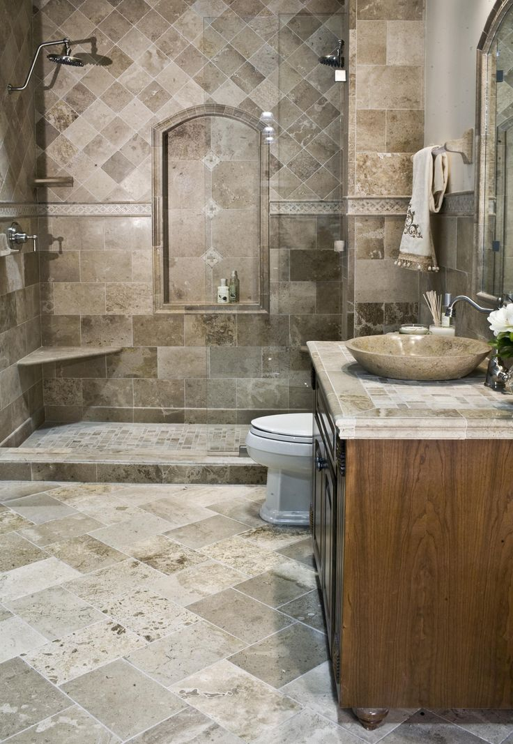 This driftwood travertine was installed in 2008 and still