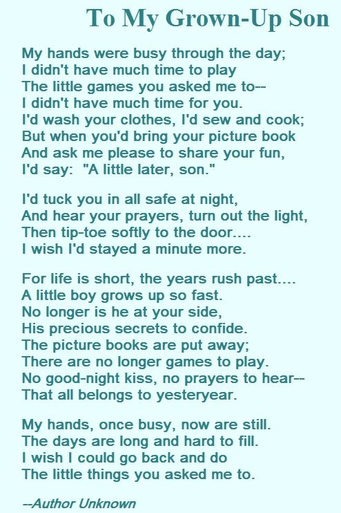 A Mothers Love Poem For Her Son Poems Pinterest