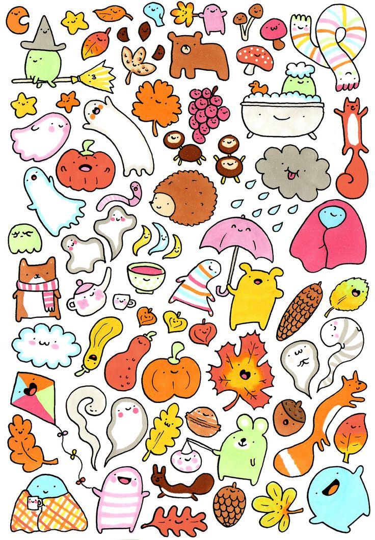 Lots and lots of kawaii doodles 秋 Drawing Pinterest