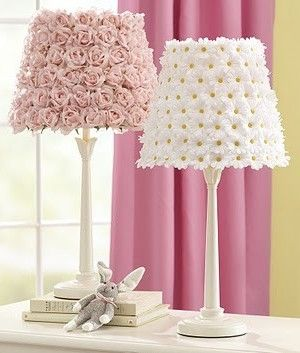 Glue fake flowers to lamp shades for a little girls room