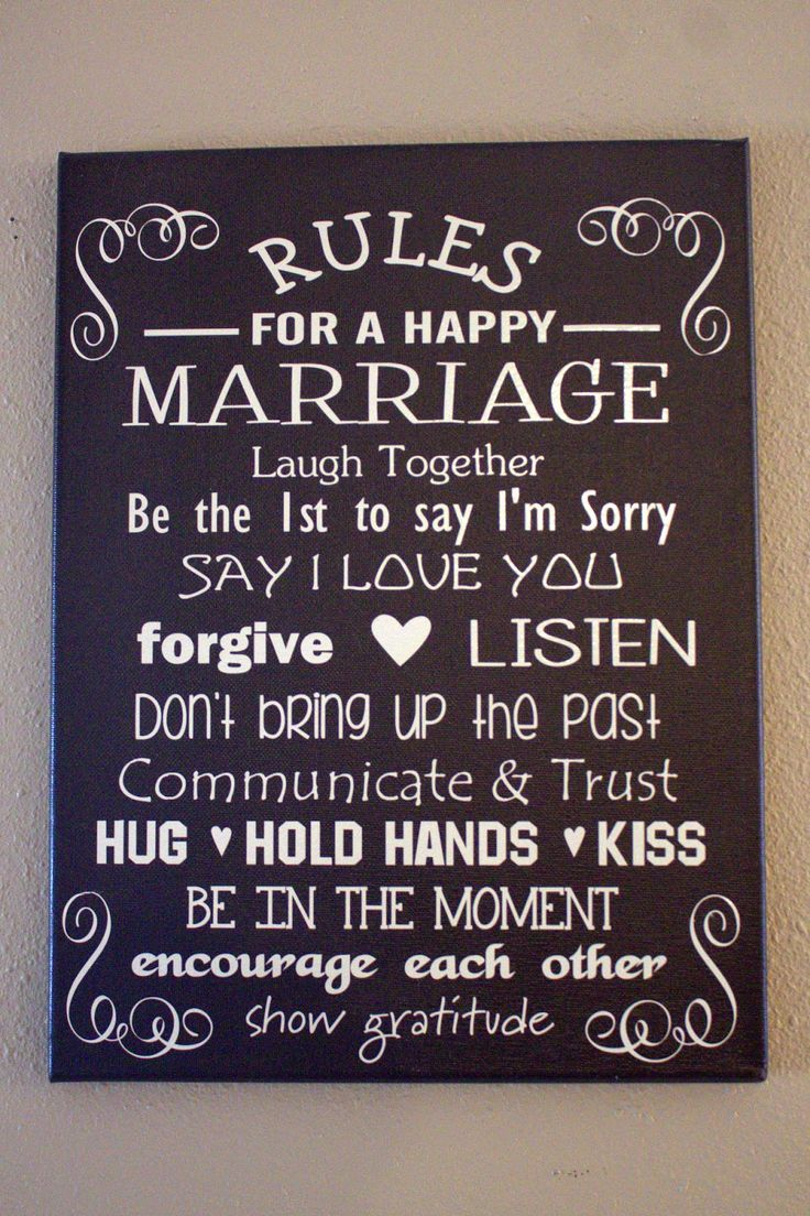 Shady Creek Lane rules for a happy marriage canvas