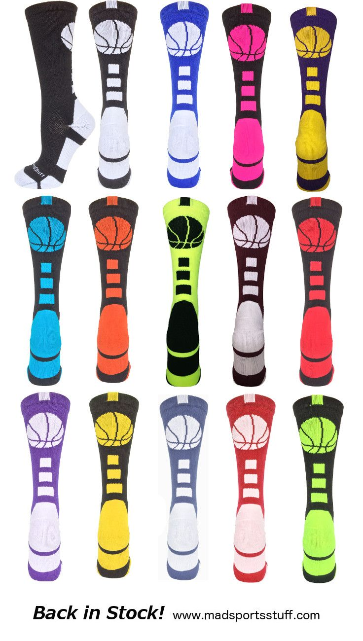 Basketball Logo Crew Socks are back in stock!  Fun colors, team colors, neons – so many to choose from…