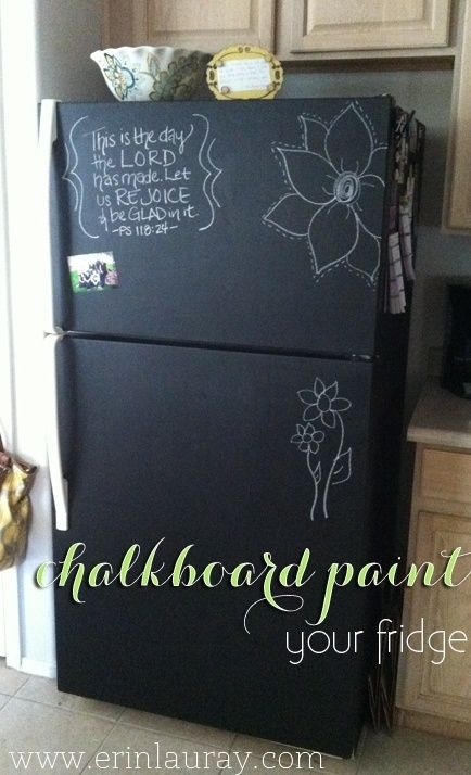 Does your Refrigerator still work well but youre sick of looking at its ugly mug? Chalk Board Paint it to give it a freshy fresh