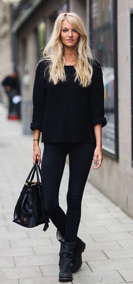look todo preto com jeans skinny