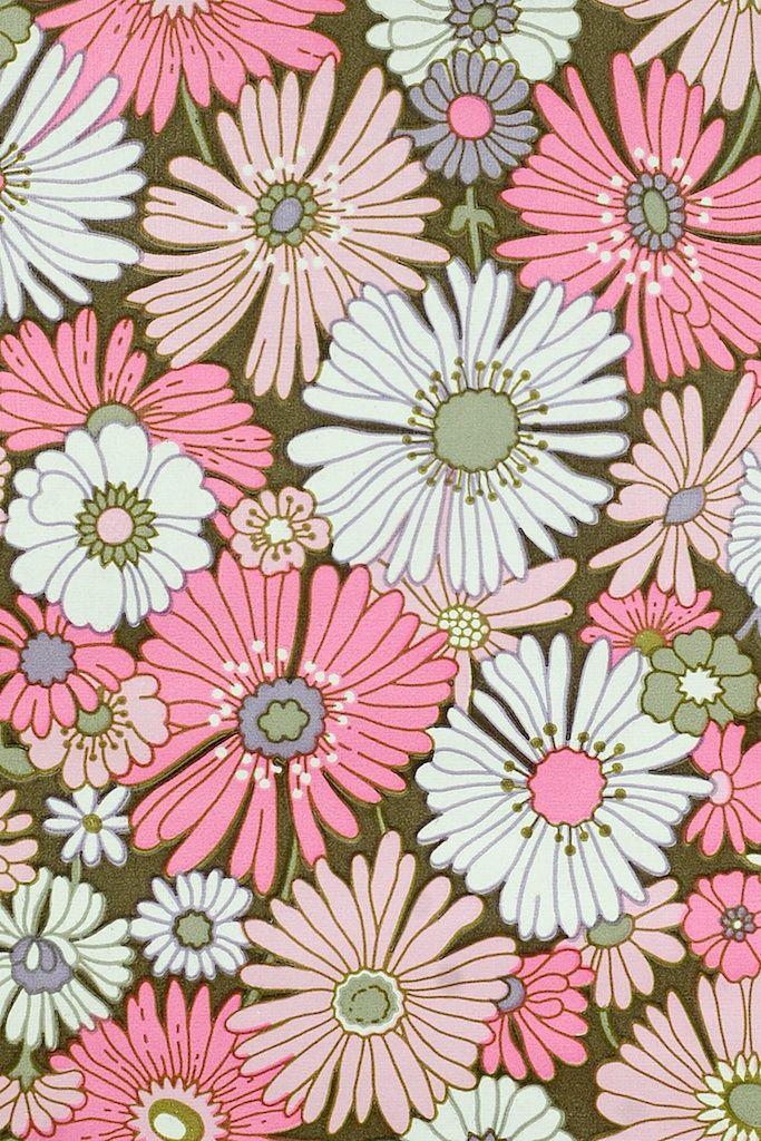 Pink Floral Wallpaper. Original vintage flower wallpaper