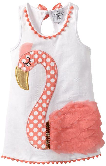 Mud Pie Baby Girls Newborn Flamingo Cotton Dress Multi 12 18 Months Clothing