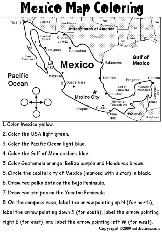 mexico coloring activities eslthemes mexico map coloring
