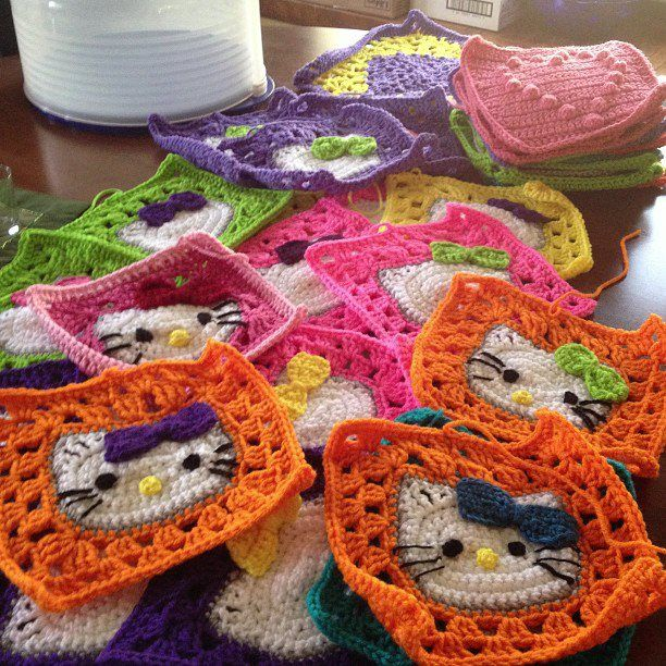 Hello Kitty Granny Squares maybe just make them cat
