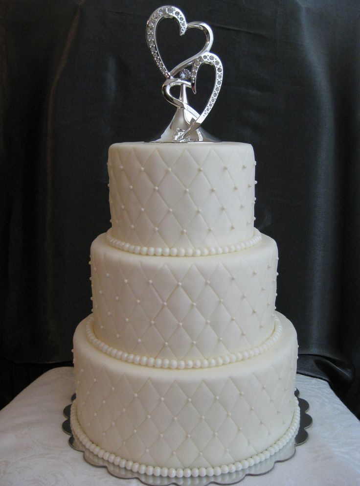 Quilted Wedding Cake Marshmallow Fondant Covered