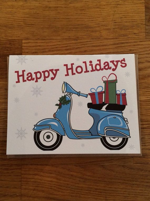 Vespa Scooter Holiday Card By Jhpapers On Etsy 300
