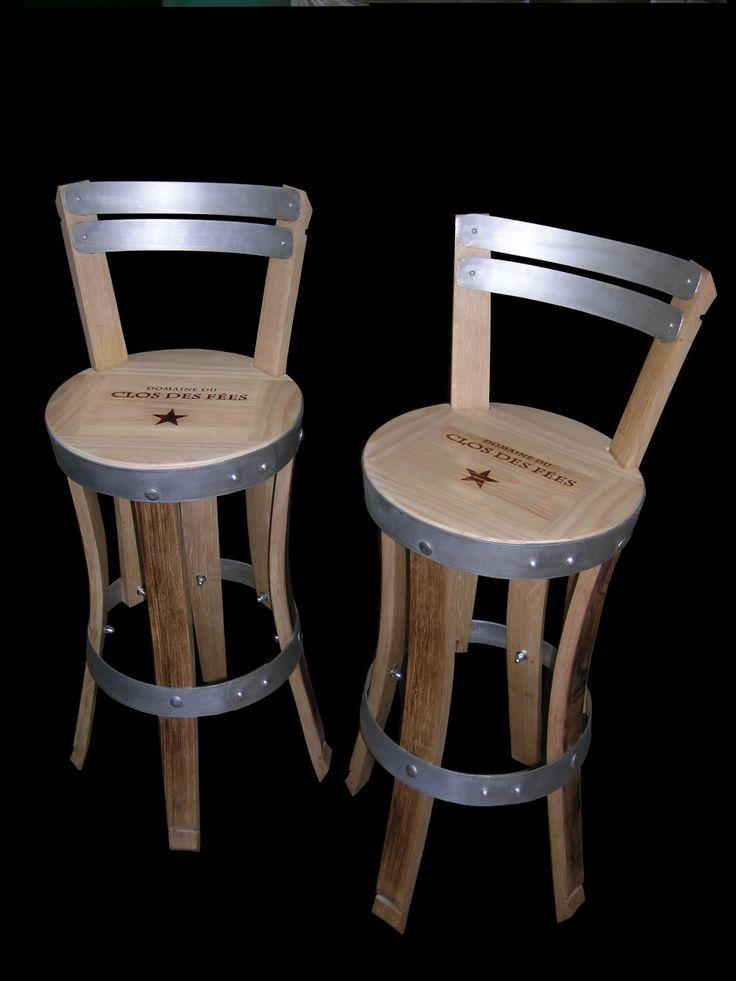 Chaises De Bar Ralises En Douelles De Tonneaux Teintes