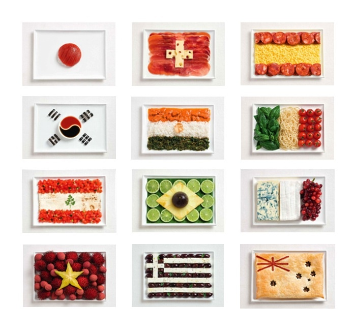 Flags of countries made of their typical food (during