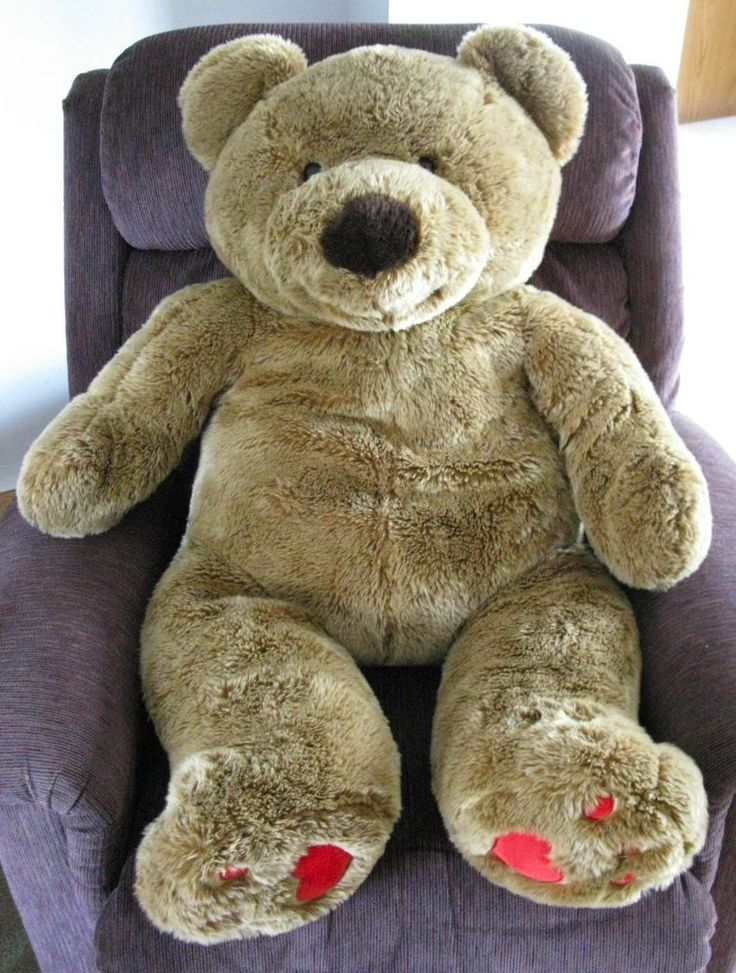"Walmart Jumbo Teddy Bear Plush 45"" Life Size Huge Tan"