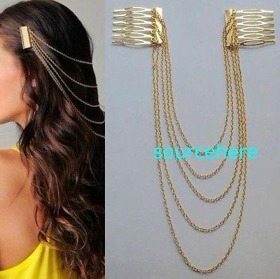 details about womens hair cuff chain head band pin gold tone metal headband cute b tassels