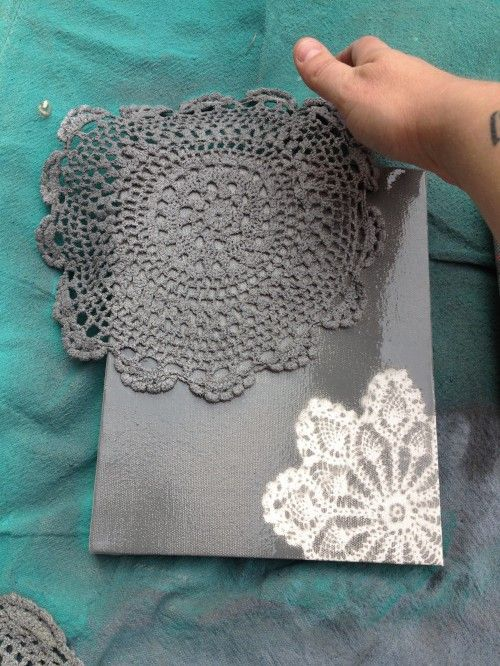 Spray paint doilies on canvas (or shoe box – note from a previous pin) = instant art.  Also a cute idea
