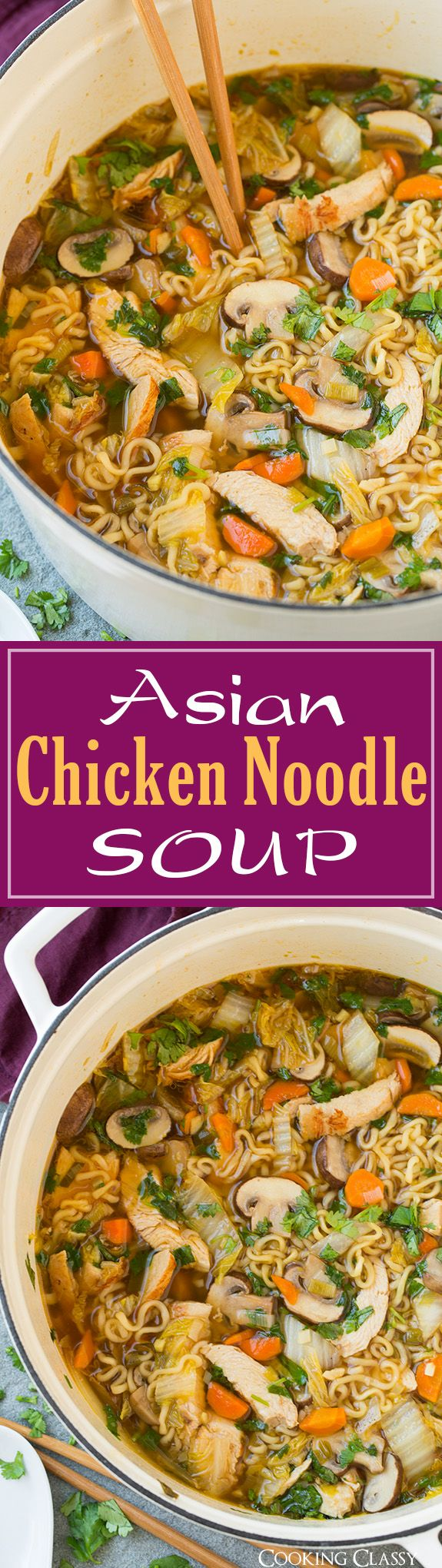 Asian Chicken Noodle Soup – this ramen spin on chicken noodle soup is SO DELICIOUS! Easy to make and perfect for a cold fall day!