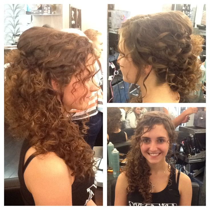 Natural Curly Hair Swept To The Side Wedding Hair By