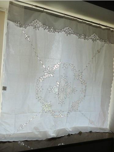 Vintage Battenburg Lace White Cotton Shower Curtain HttpwwwebaycomitmVintage Battenburg