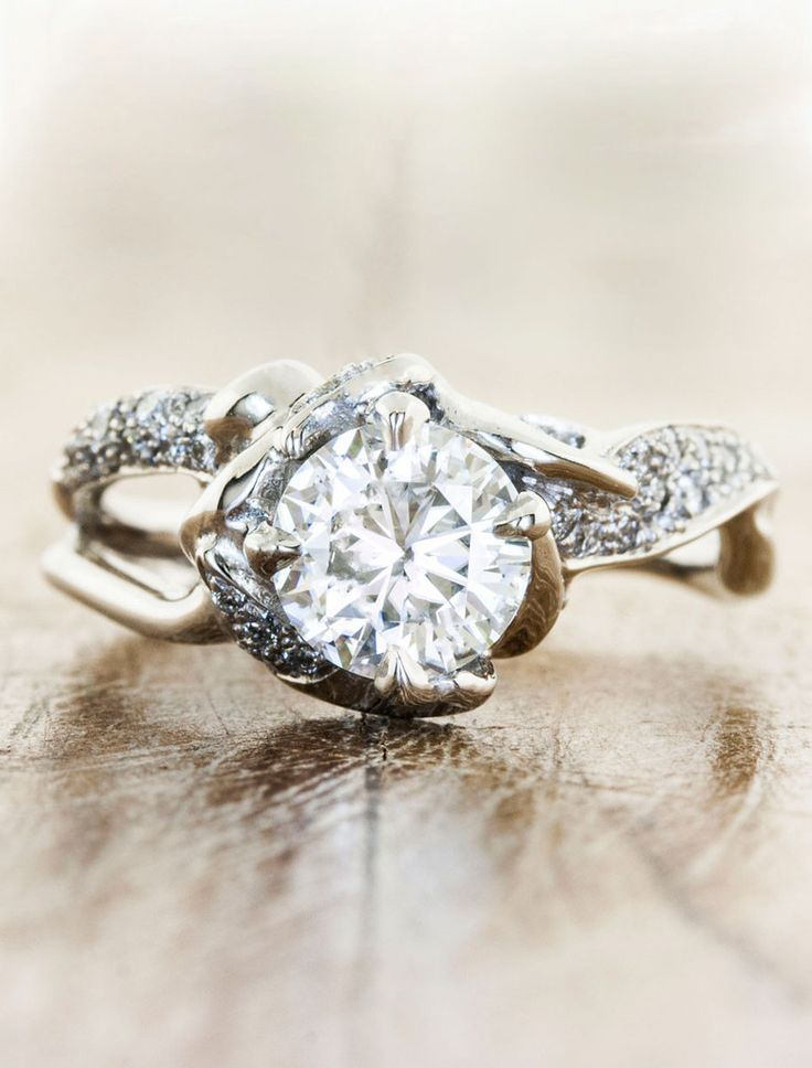 Nature Inspired Split Band Diamond Engagement Ring