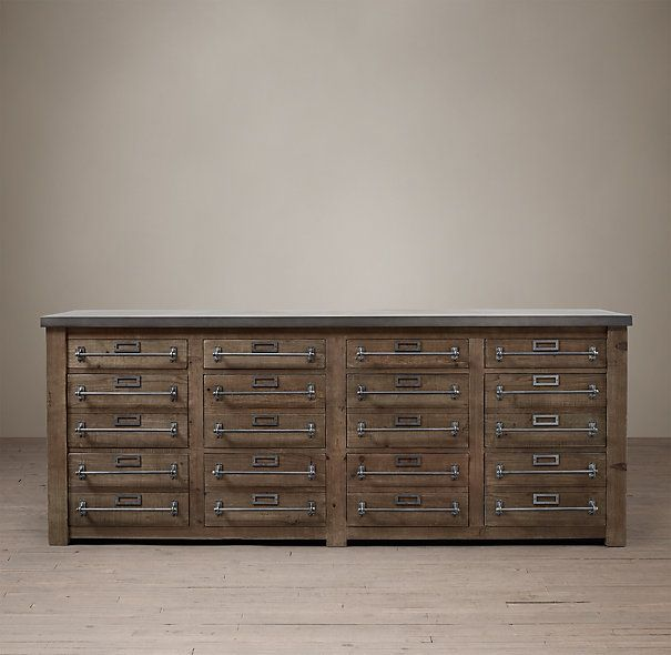 Early 20th C Zinc Top Mercantile Sideboard From Restoration Hardware Hows That For A File