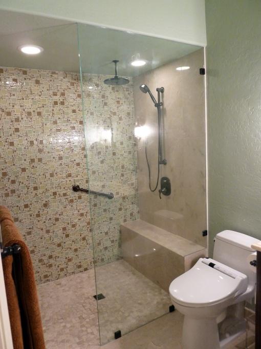 Curbless, doorless shower with a micro versailles glass