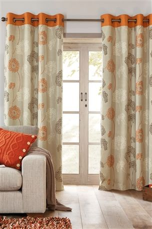 Orange Emily Floral Eyelet Curtains Curtains And Drapes