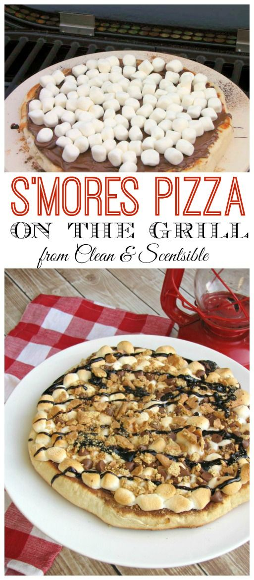S'mores Pizza – Done up on the grill and perfect for backyard campouts or summer parties!