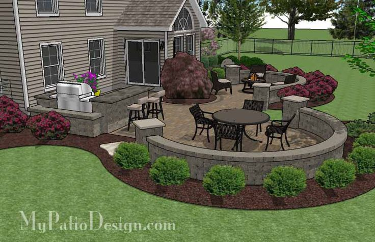 Large Paver Patio Design With Grill Station & Seat Walls